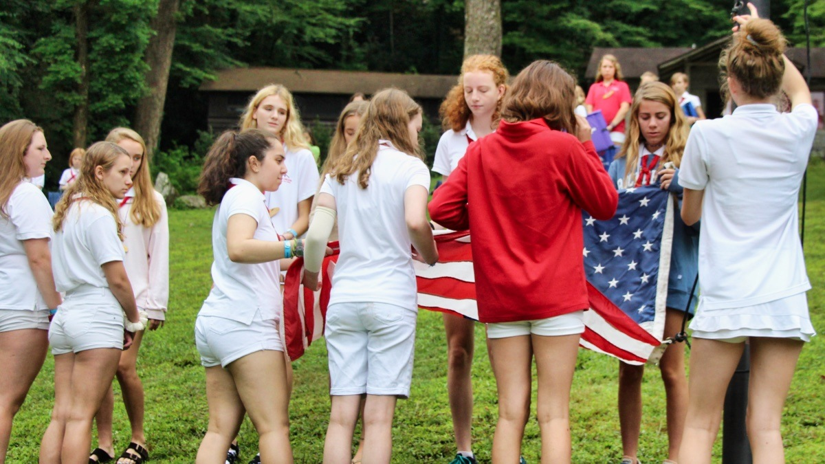 flag raising at camp