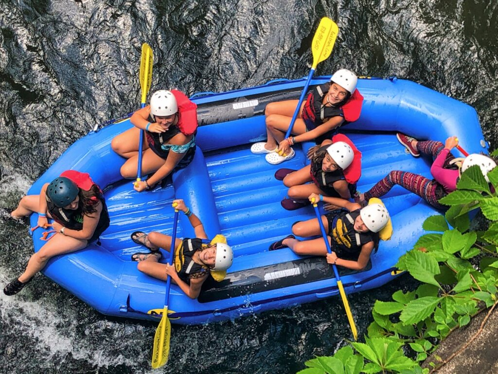 whitewater rafting from above