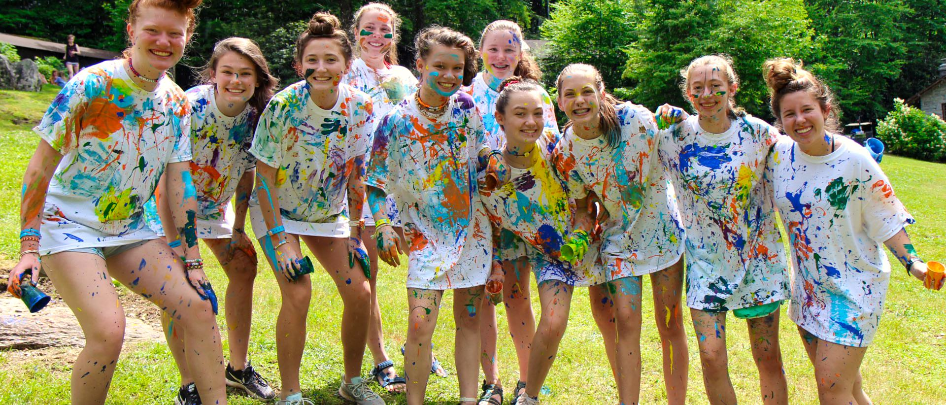 camp girls colorful t-shirt painting