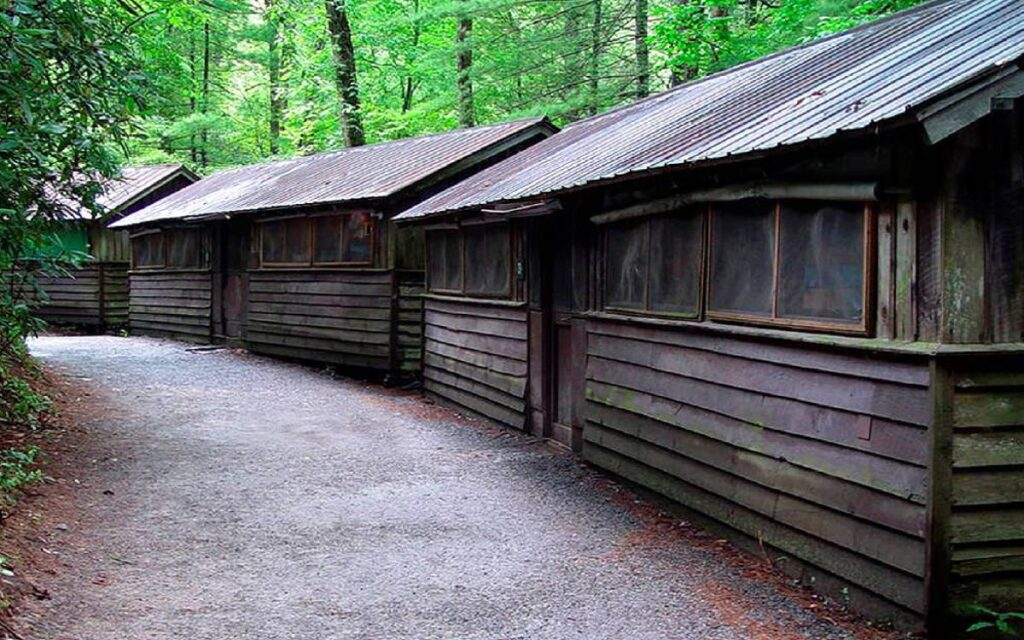 row of cabins at Rockbrook Camp