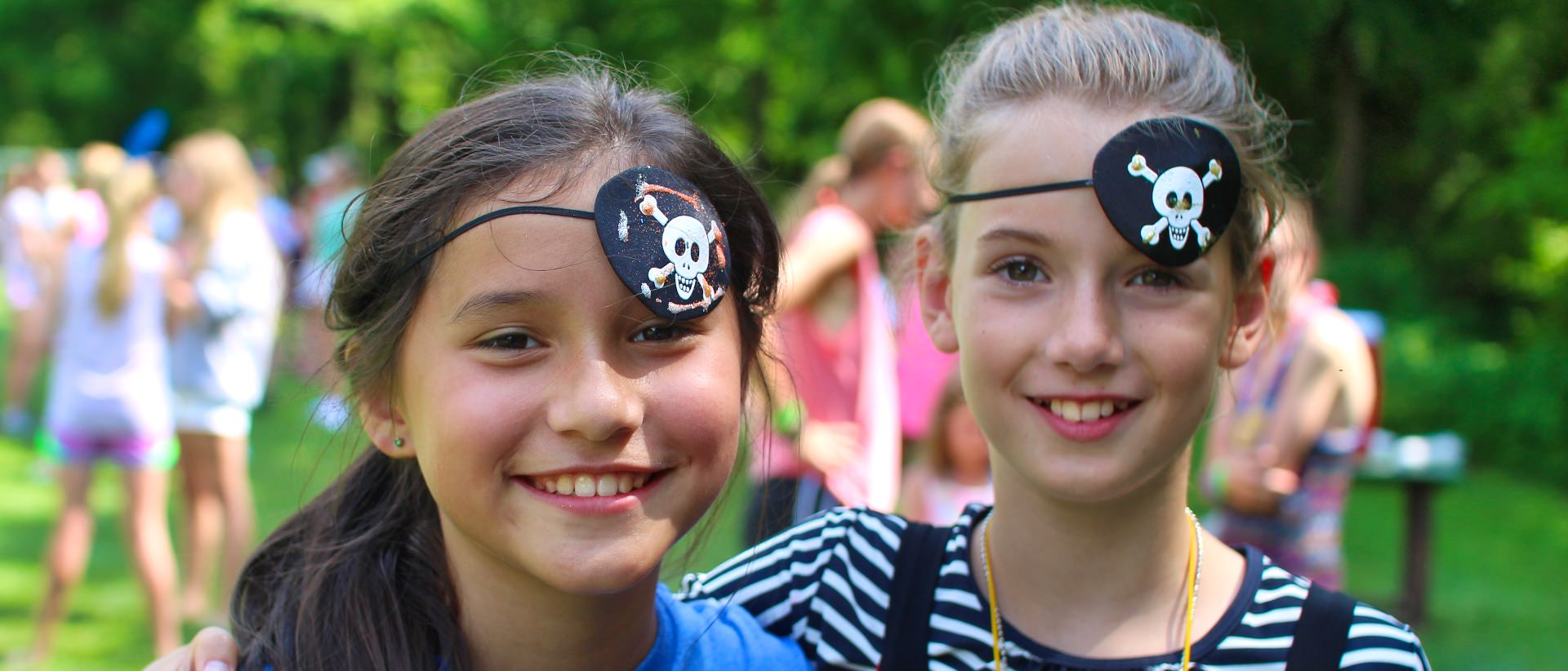 Summer camp girls dressed as pirates
