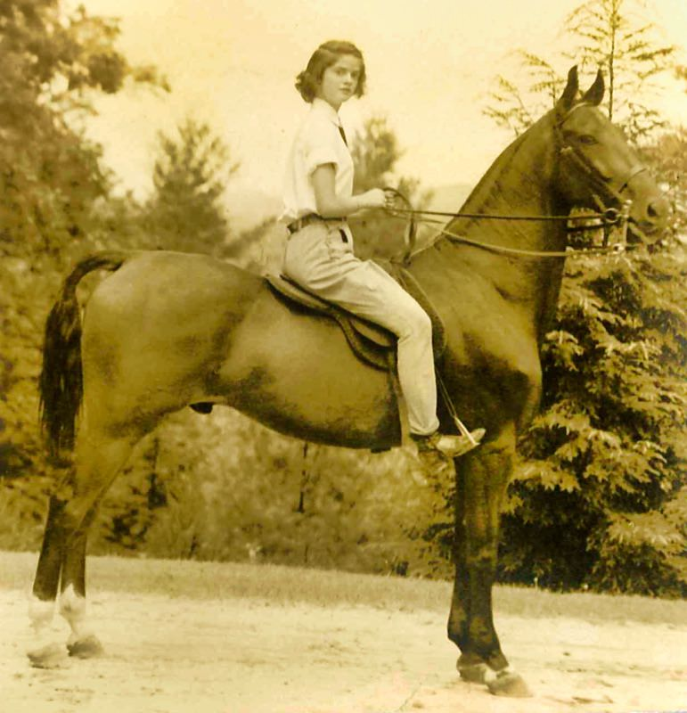 Early girls camp horse and rider