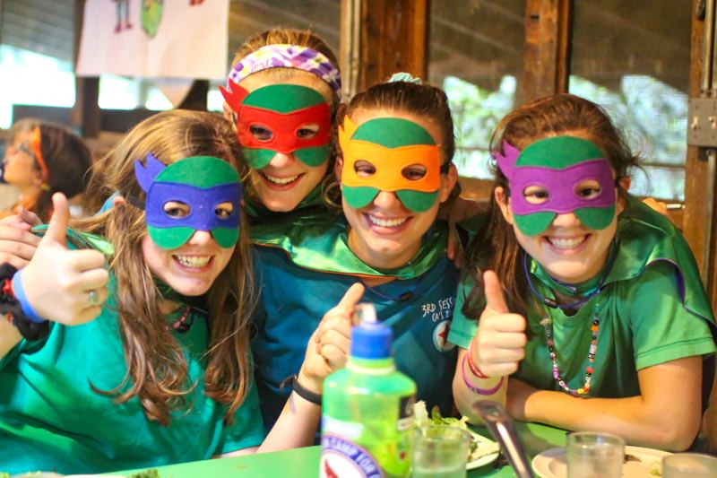 camp girls dressed at ninja turtles