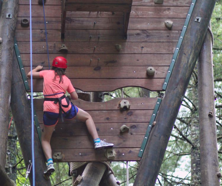 girls climb camp high challenge tower
