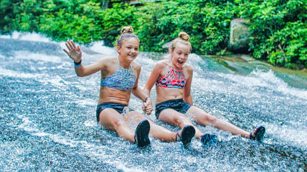 two camp girls on NC sliding rock