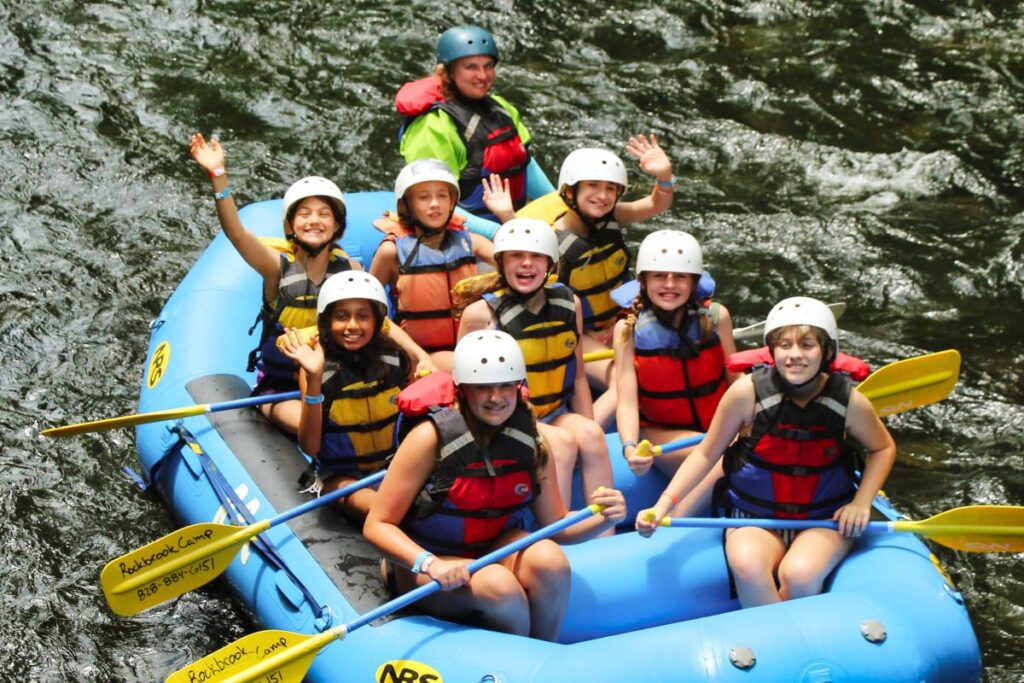 young campers rafting