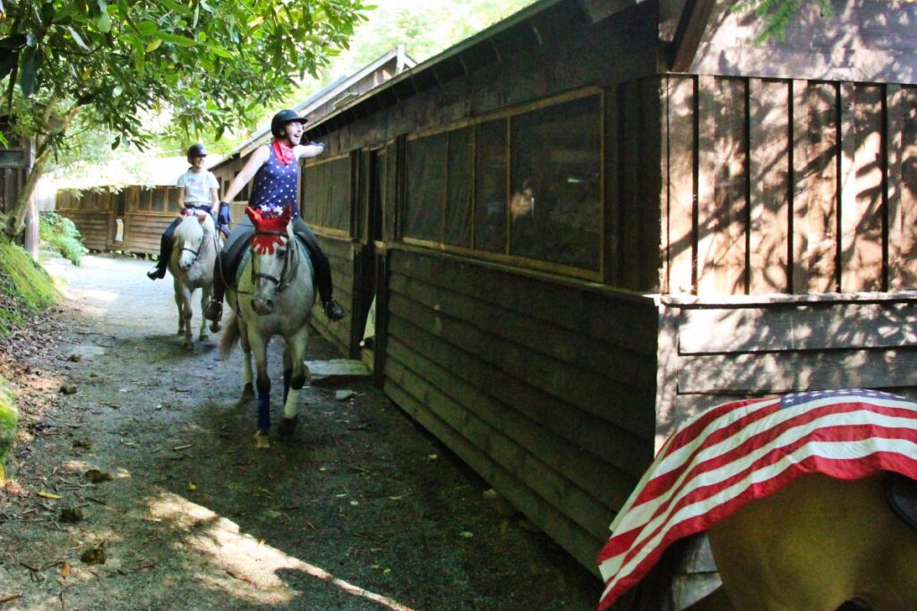 4th of July horses in camp line