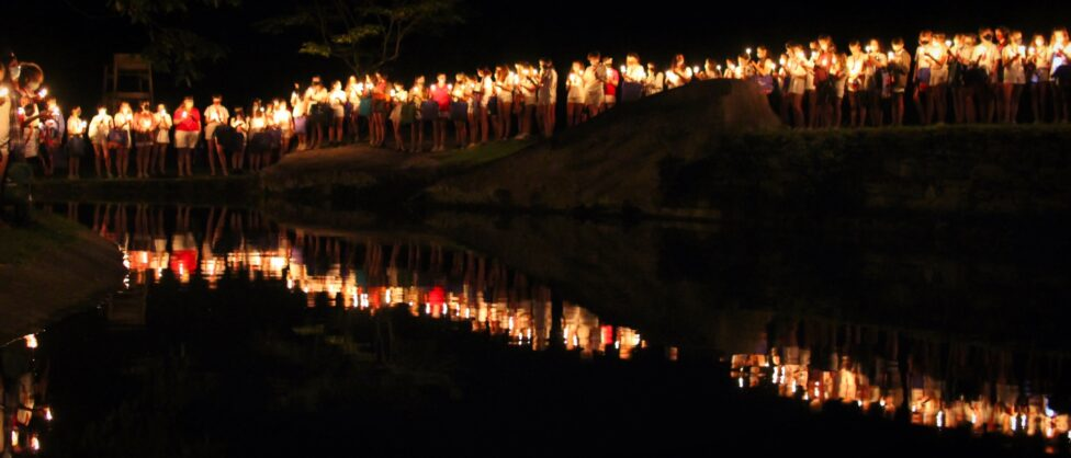 camp lakeside candle ceremony