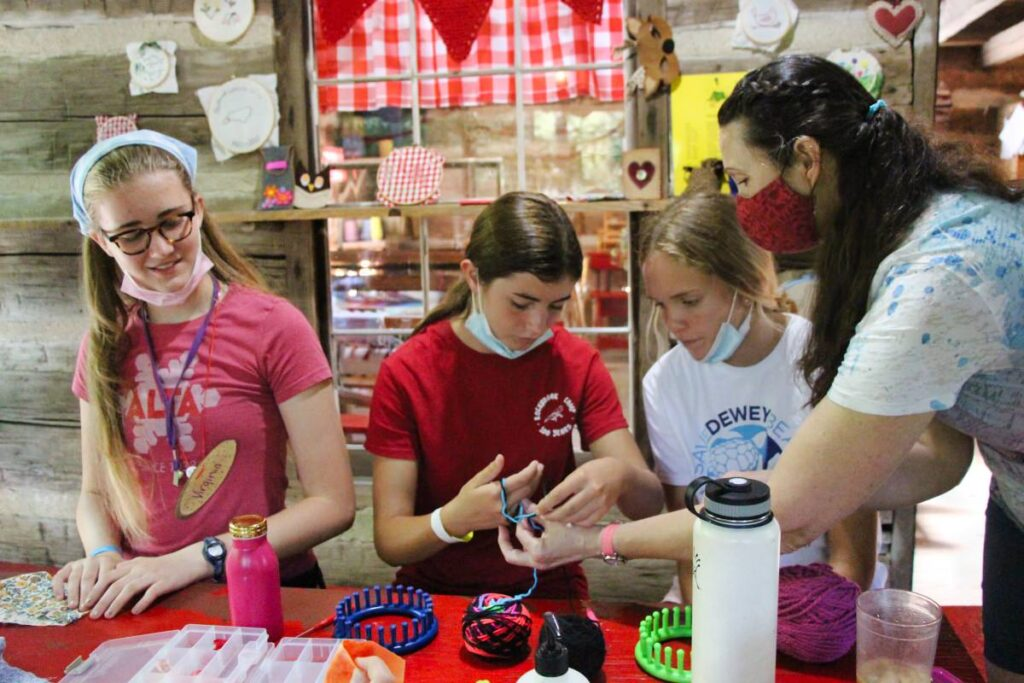 knitting class for girls at summer camp