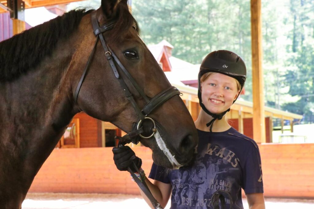 teen equestrian girl and horse