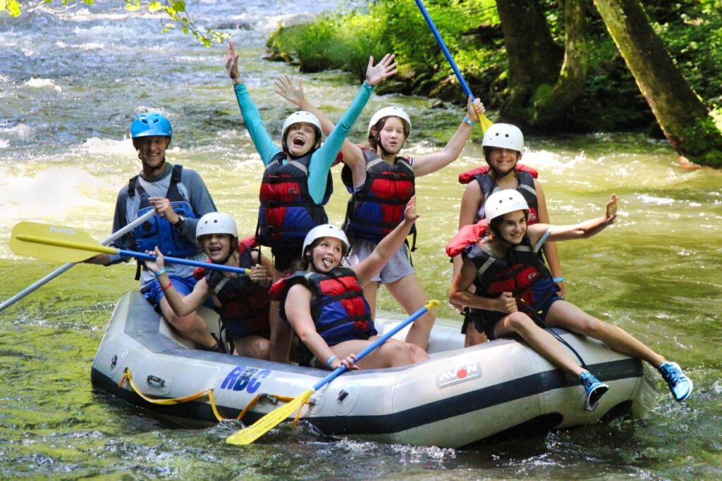 whitewater rafting party kids