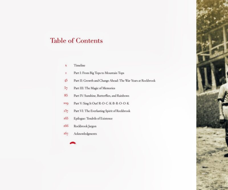 table of contents page camp history